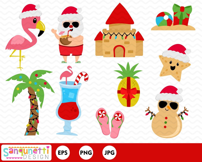 Tropical Beach Christmas clipart, holiday clip art graphics.