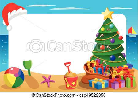 Xmas horizontal frame tropical beach with Christmas hat hanging..