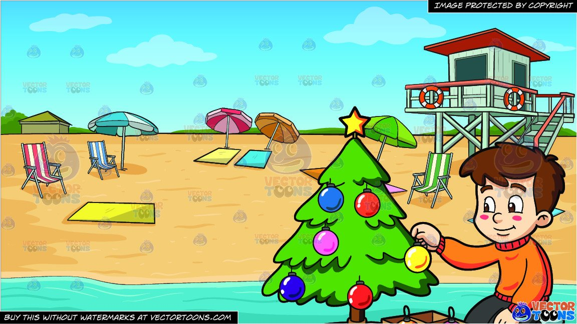 A Boy Decorating A Christmas Tree and Summer Beach Shore Background.