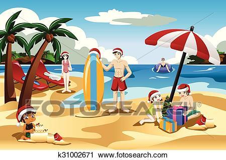 Family Celebrating Christmas on the Beach Clipart.