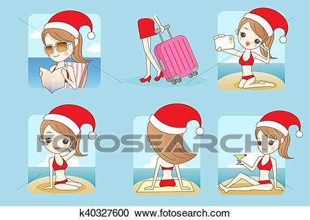 Christmas woman at the beach Clipart.