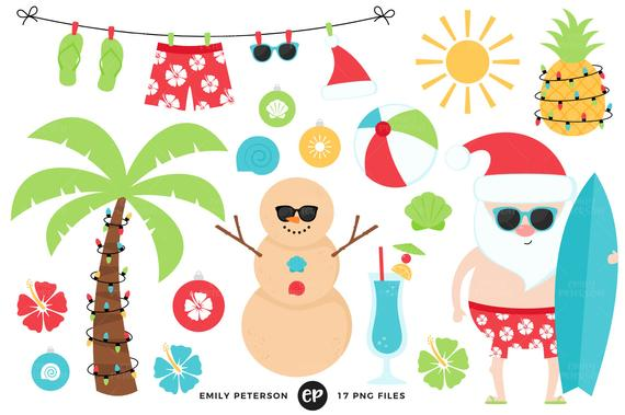 Christmas in July Clip Art, Tropical Santa Clipart, Christmas Beach Clip  Art.