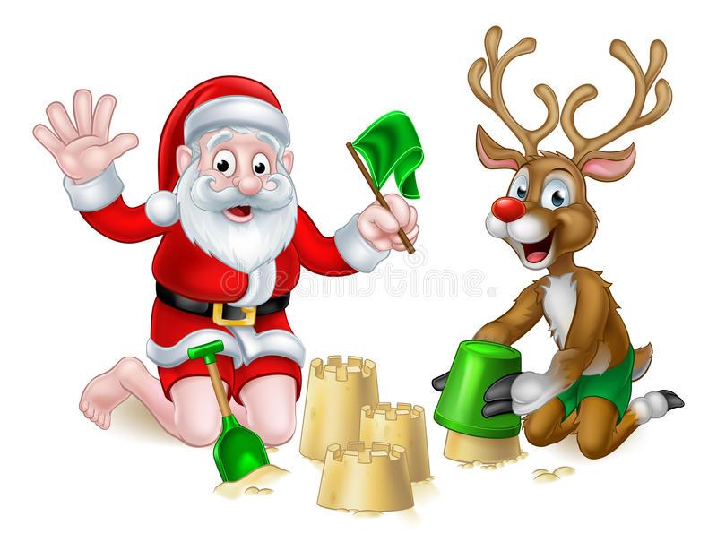Christmas Beach Stock Illustrations.