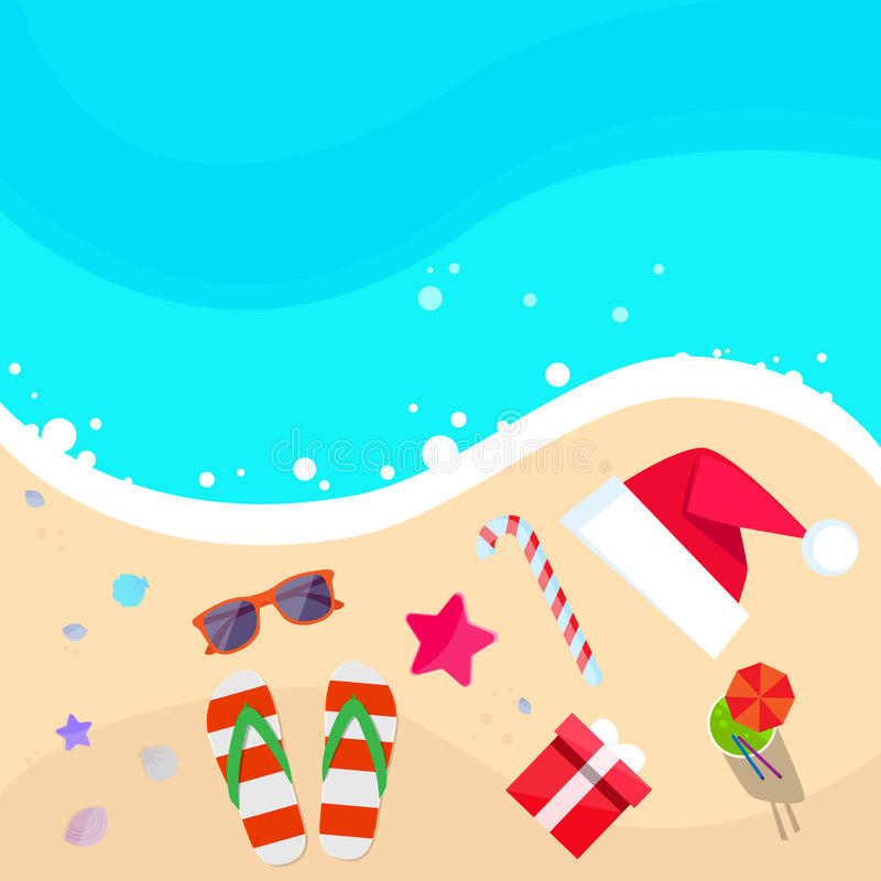 Christmas Santa Beach Stock Illustrations.