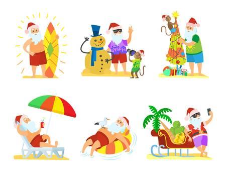 797 Santa Beach Stock Vector Illustration And Royalty Free Santa.