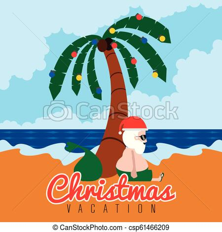 Santa claus on a beach. Christmas summer vacations.