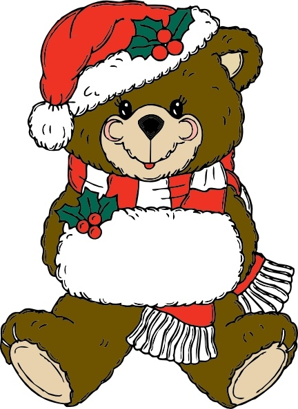 Christmas Bear clip art Free vector in Open office drawing svg.