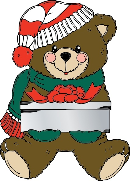 Christmas Bear Wih Present clip art Free vector in Open office.