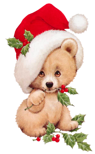 Christmas Bear with Mistletoe Transparent PNG Clipart.