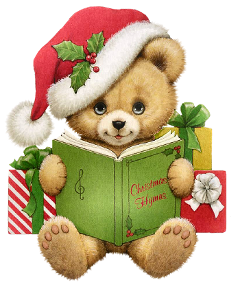 Christmas Bear with Book Transparent PNG Clipart.