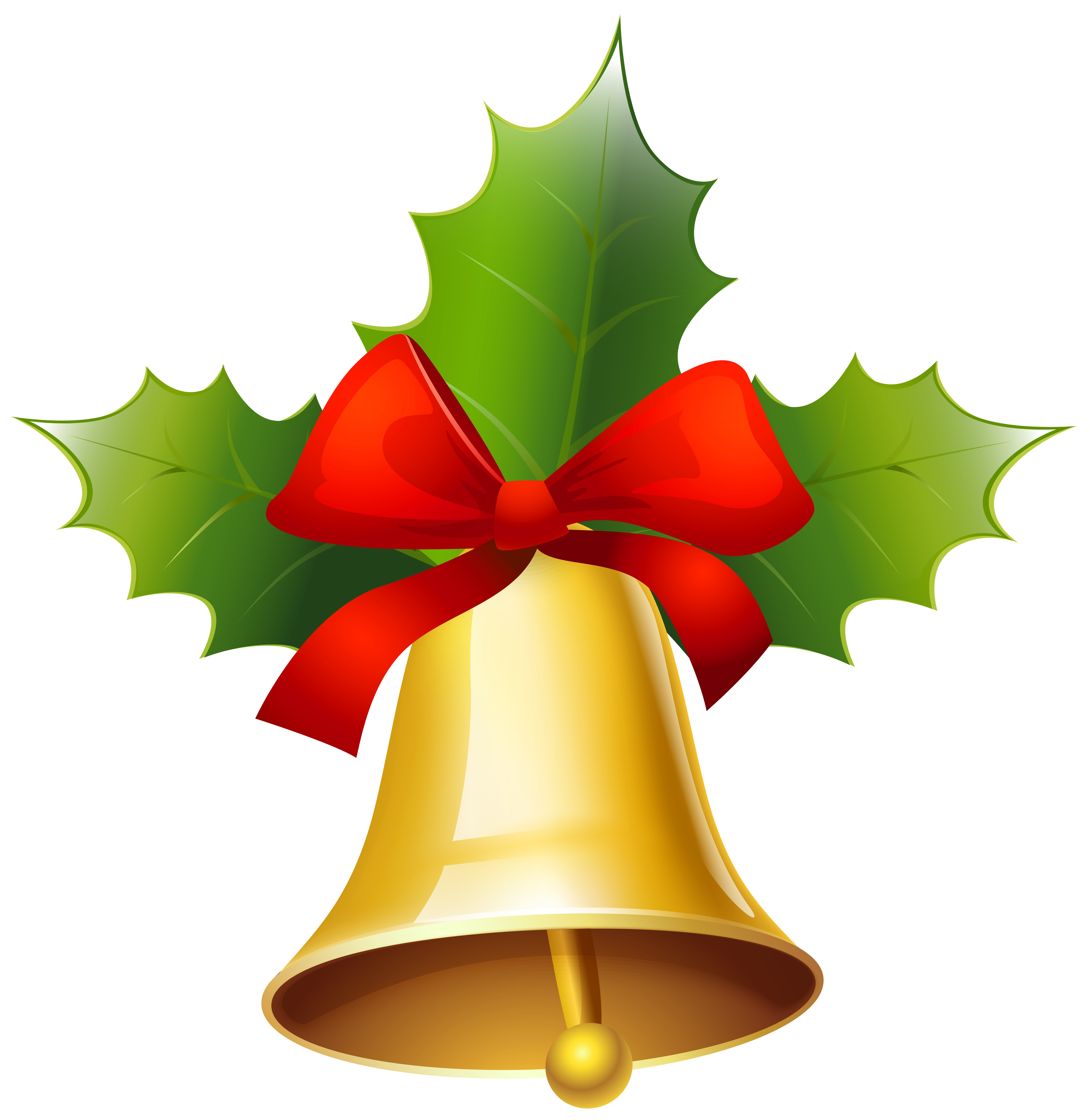 Golden Christmas Bell PNG Clipart Image.