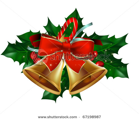 Free Clipart Christmas Bells With Holly.