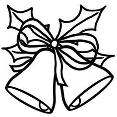 christmas bells clipart black and white #20