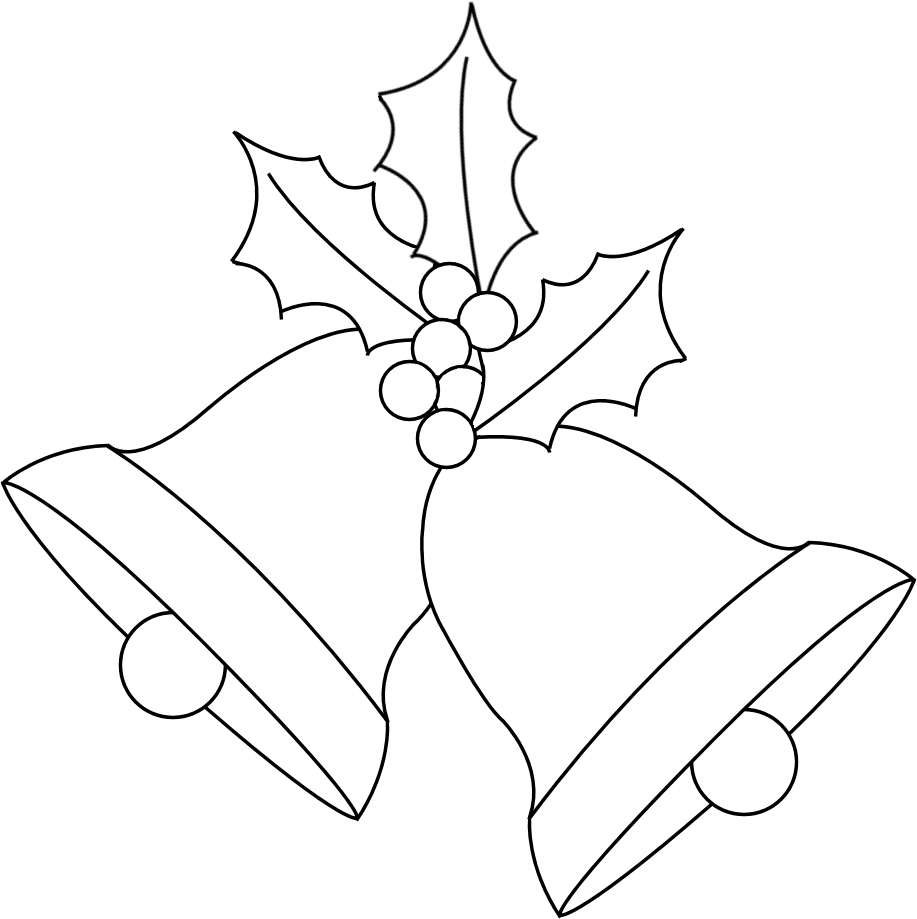christmas bells clipart black and white #5