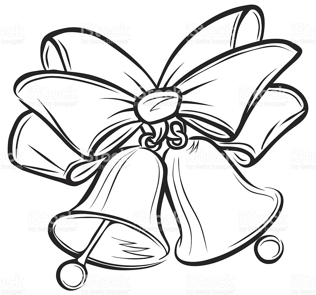 christmas bells clipart black and white #6