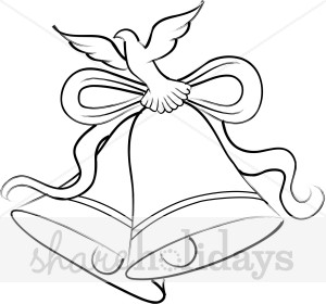 Black and White Christmas Bells with Dove Clipart.