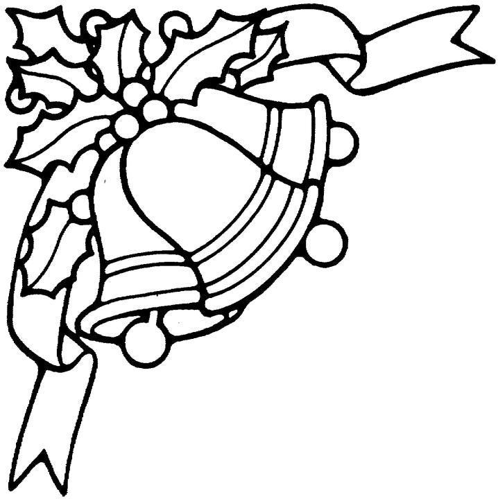 christmas bells clipart black and white #11
