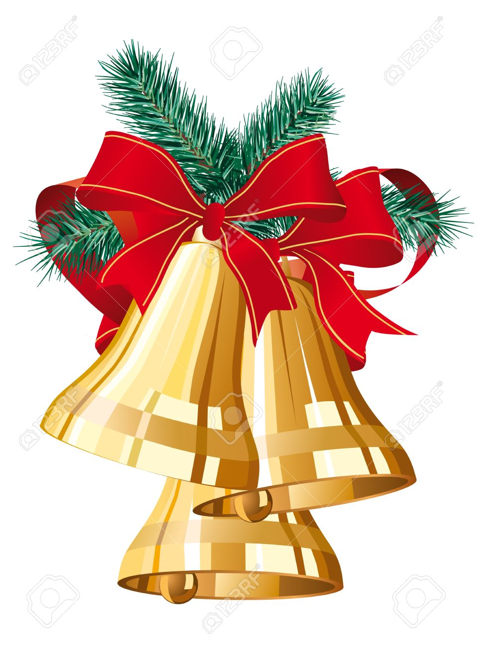 three golden christmas bells with red bow.