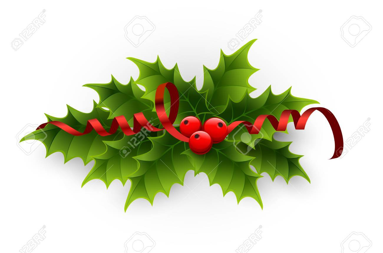 Christmas holly berries and tinsel » Clipart Portal.