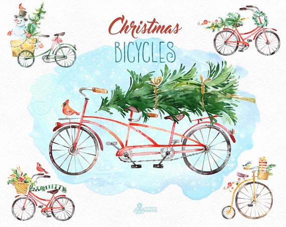 Christmas Bicycles. Watercolor holiday clipart, vintage.