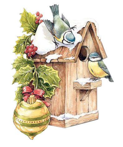 CHRISTMAS BIRDS AND BIRDHOUSE.
