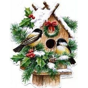 Carol Wilson Christmas Winter Birdhouse w Chickadees Boxed.