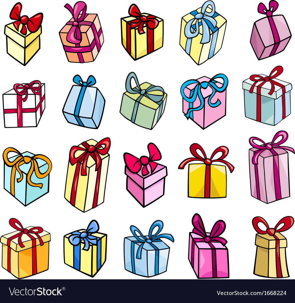 Christmas or birthday gift clip art set.
