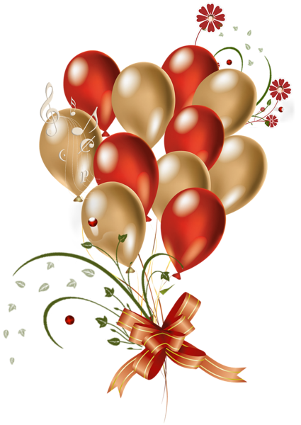 Transparent Red and Gold Balloons Clipart.