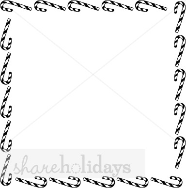 Free Black And White Christmas Stationery Border Clipart.