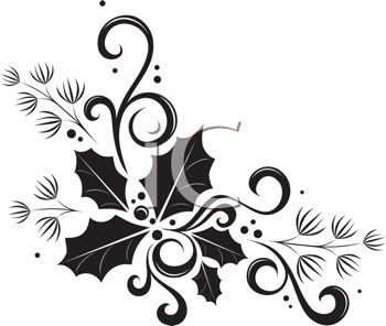Desert Christmas Border Clipart Black And White.