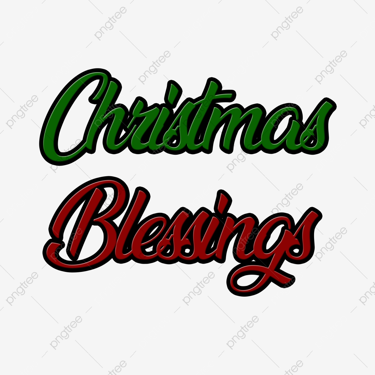Christmas Blessings Text, Christmas, Card, Background PNG.