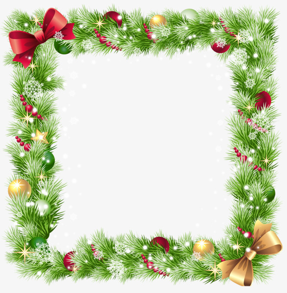 Square Christmas Border Element, Frame, Square, Green PNG.
