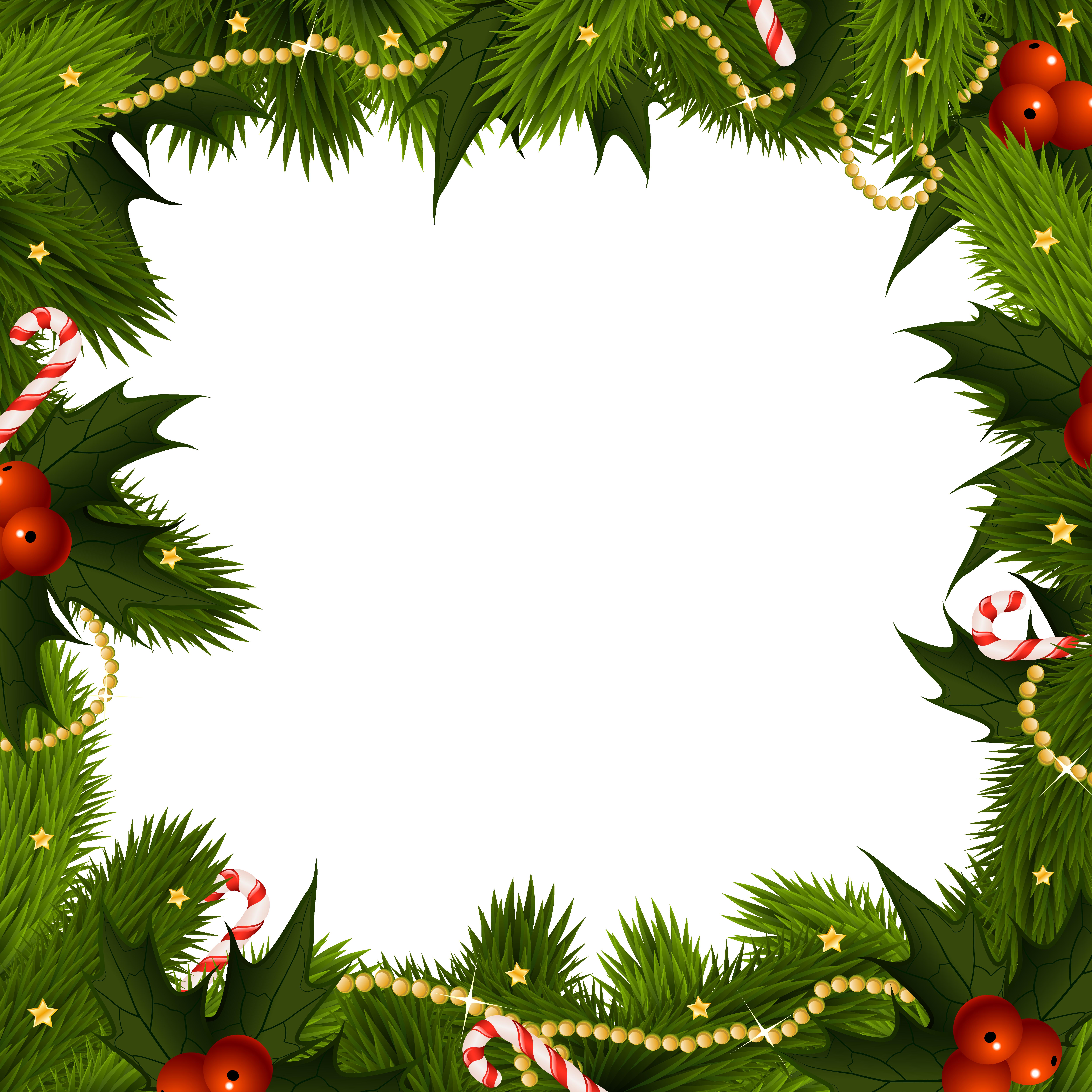 Transparent Christmas Border PNG Frame.