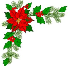 Watercolour Holly Christmas Wreaths Corners and Borders, Xmas clip.