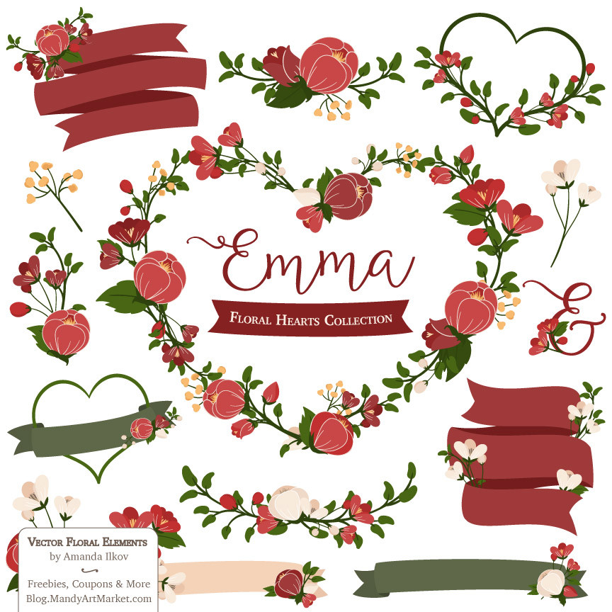 Floral Heart Wreaths Clipart in Christmas.