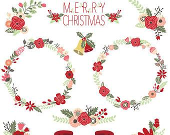 "Items similar to Christmas Clipart "" CHRISTMAS FLORAL"" clip art."
