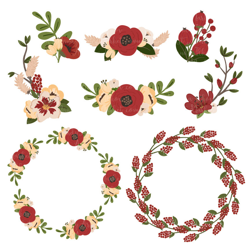 Jenny Round Floral Wreaths Clipart in Christmas.