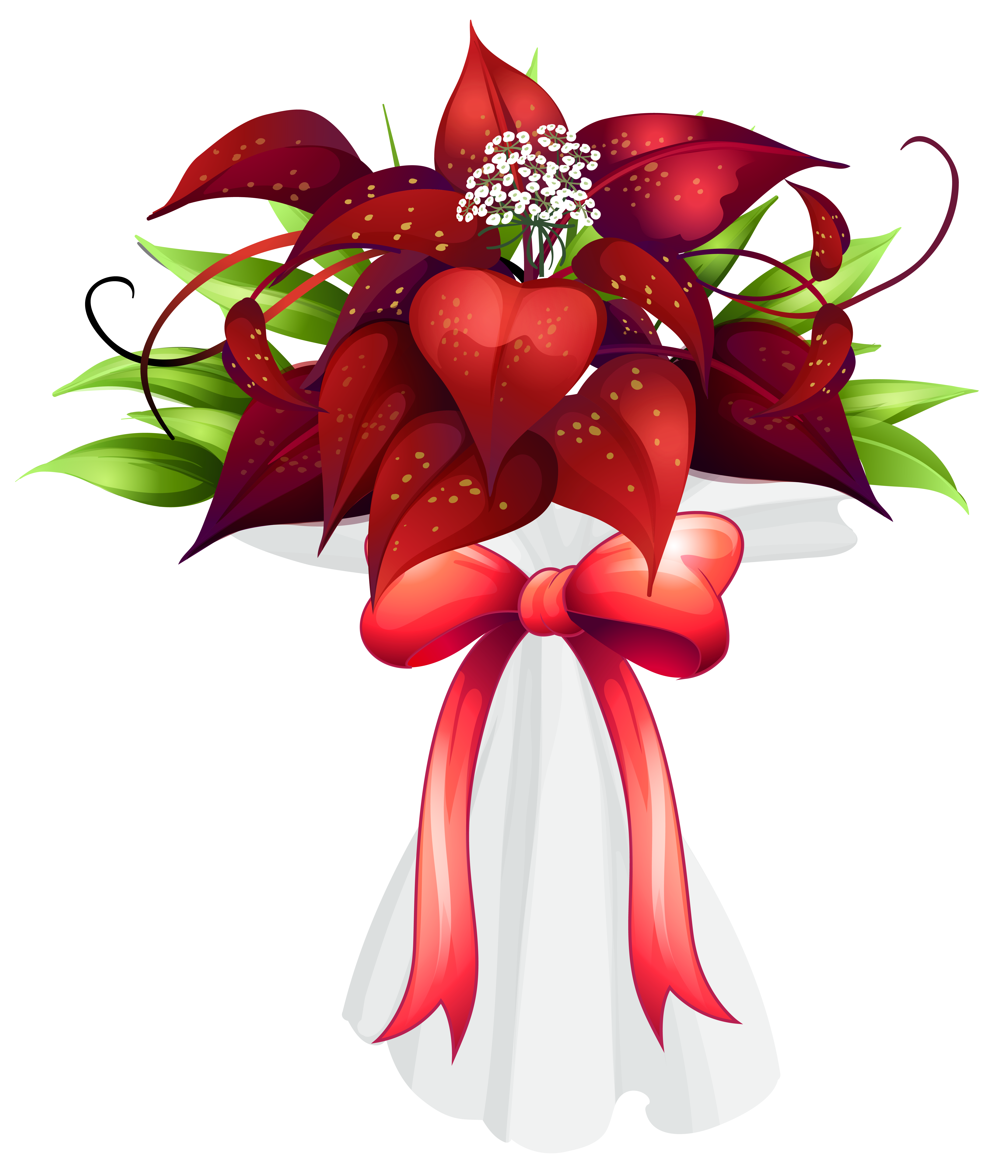 Red Flowers Bouquet PNG Clipart Image.