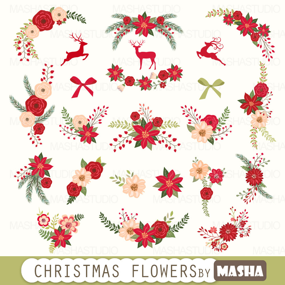 Clipart christmas flowers.