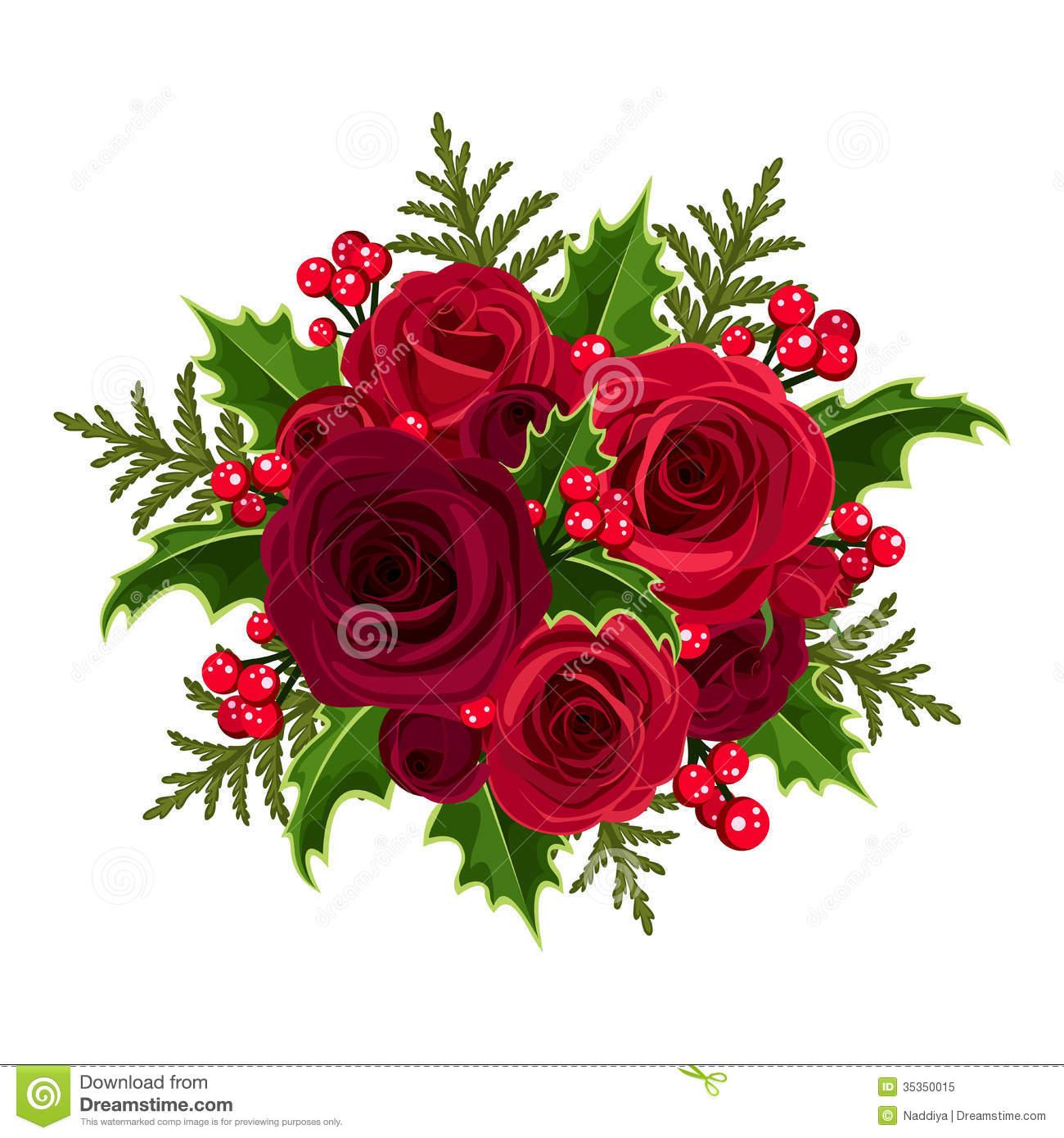 Christmas flower arrangements clipart.