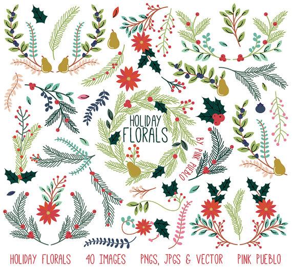 Christmas Floral Clipart Clip Art Holiday Laurel Wreath Leaf.