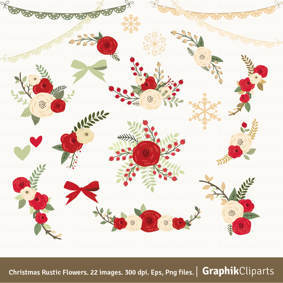 Christmas Rustic Flowers Clipart. Floral by Graphikcliparts.