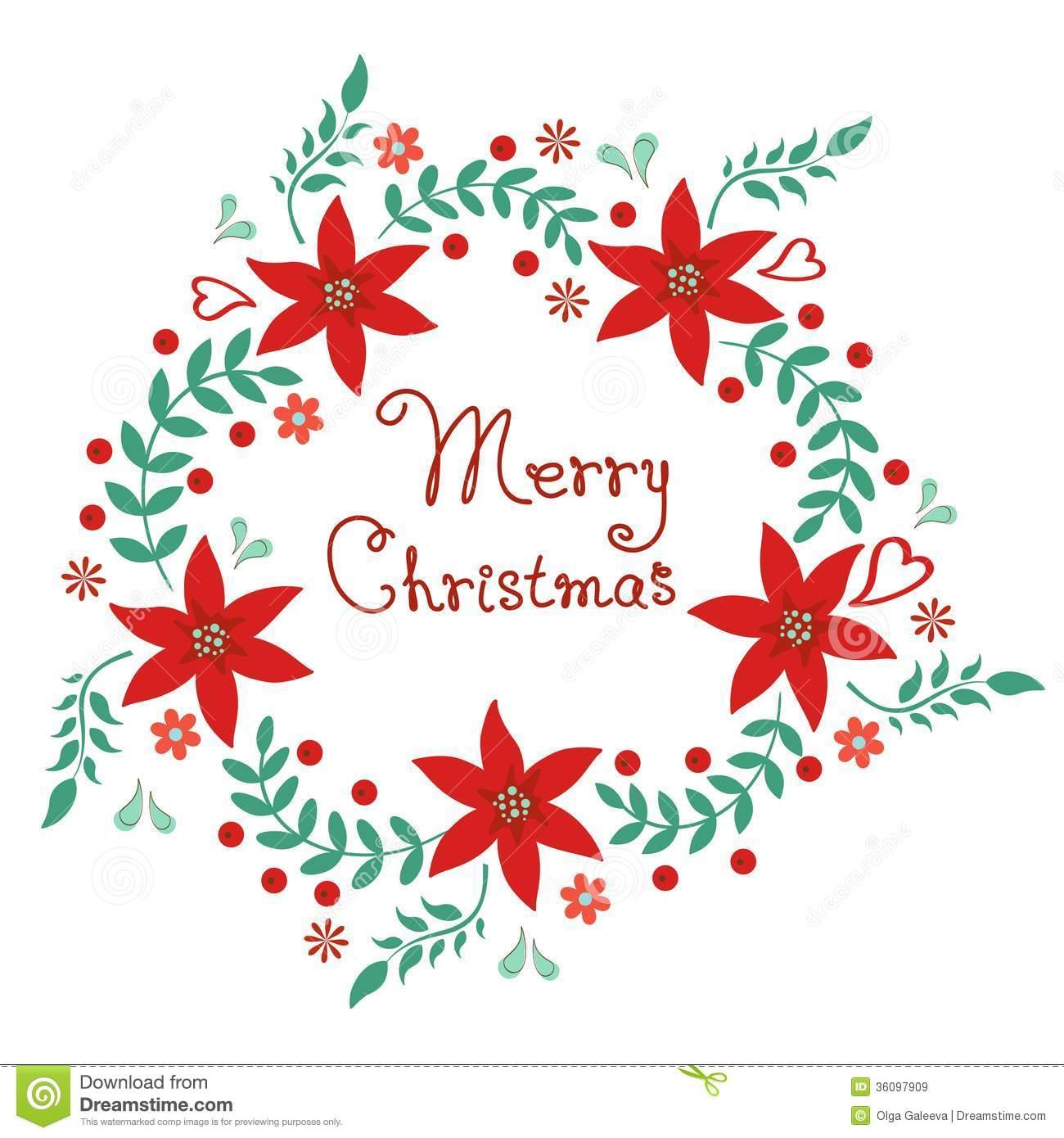 Merry Christmas Wreath Clipart.