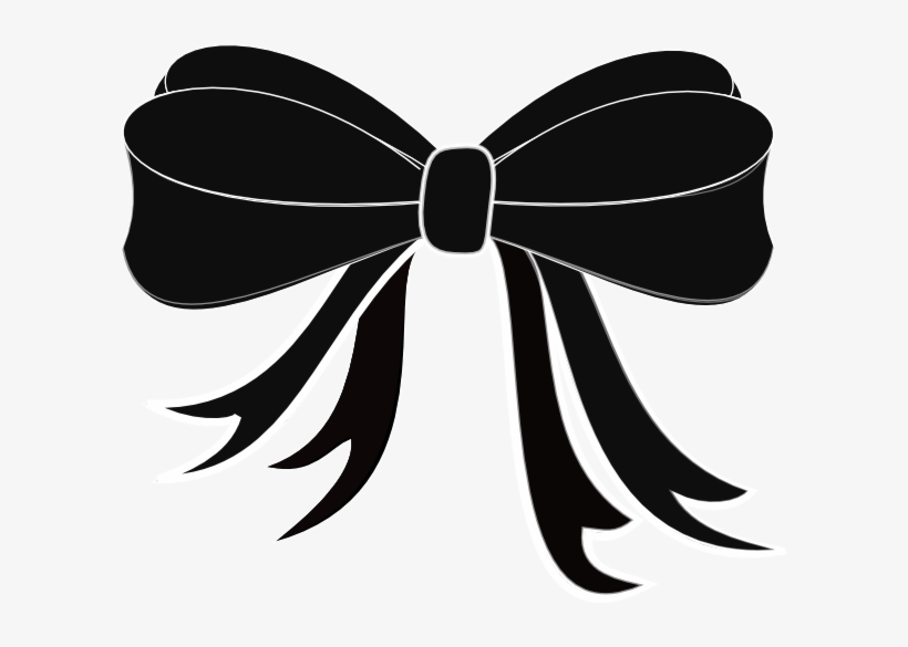 Black And White Christmas Ribbon Clipart 21554 Black.
