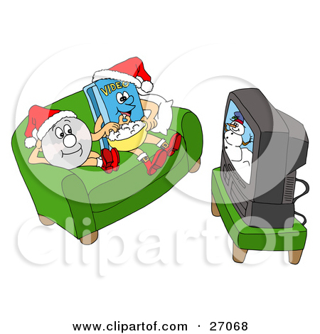Clipart Illustration of a DVD And Video Sitting On A Couch.