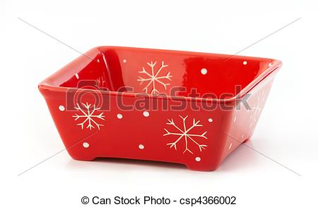 Stock Photo of Red square Christmas bowl with snowflakes.