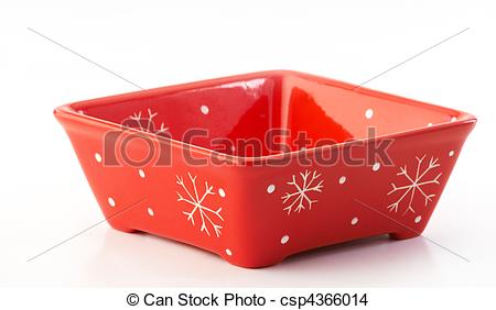 Stock Photo of Red square bowl.