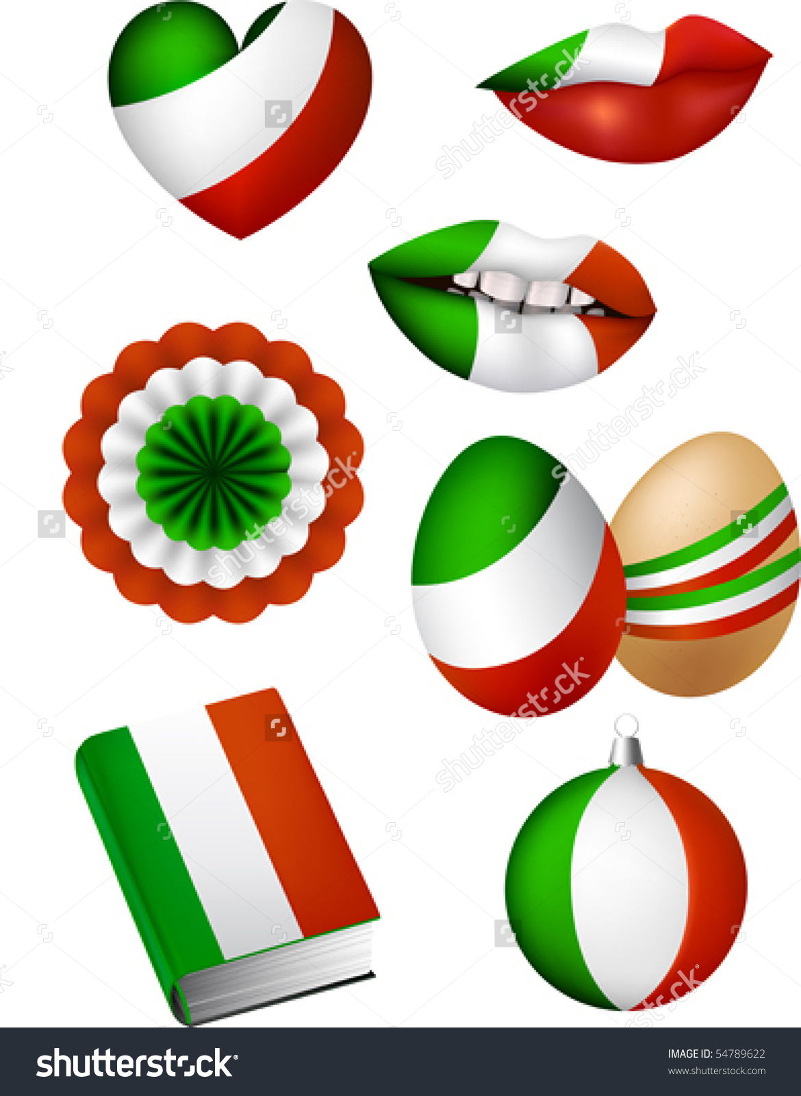 Vector Illustration Of Some Patriotic Elements, Italian Flag Color.