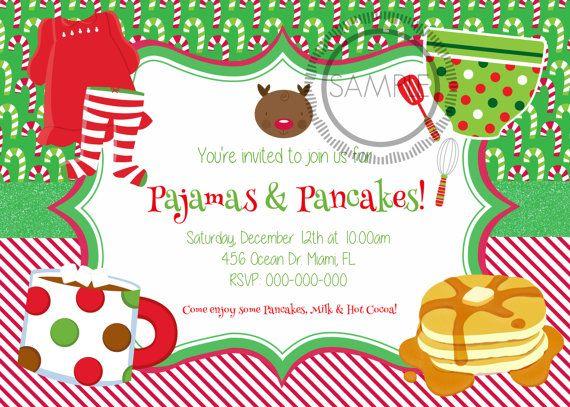 Pajamas and Pancakes Christmas Party Invitation / Kids.
