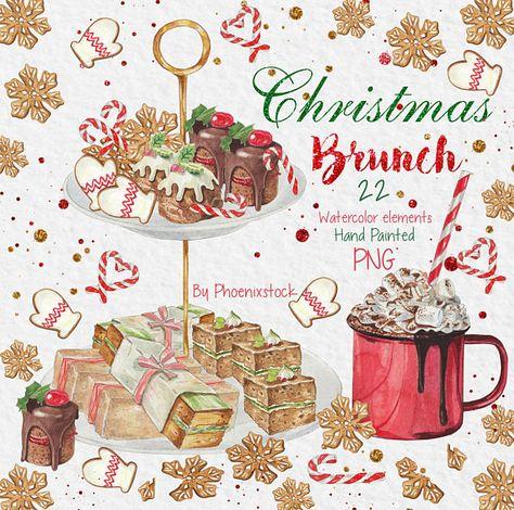 Watercolor clip art Christmas/Christmas clipart/Watercolor.